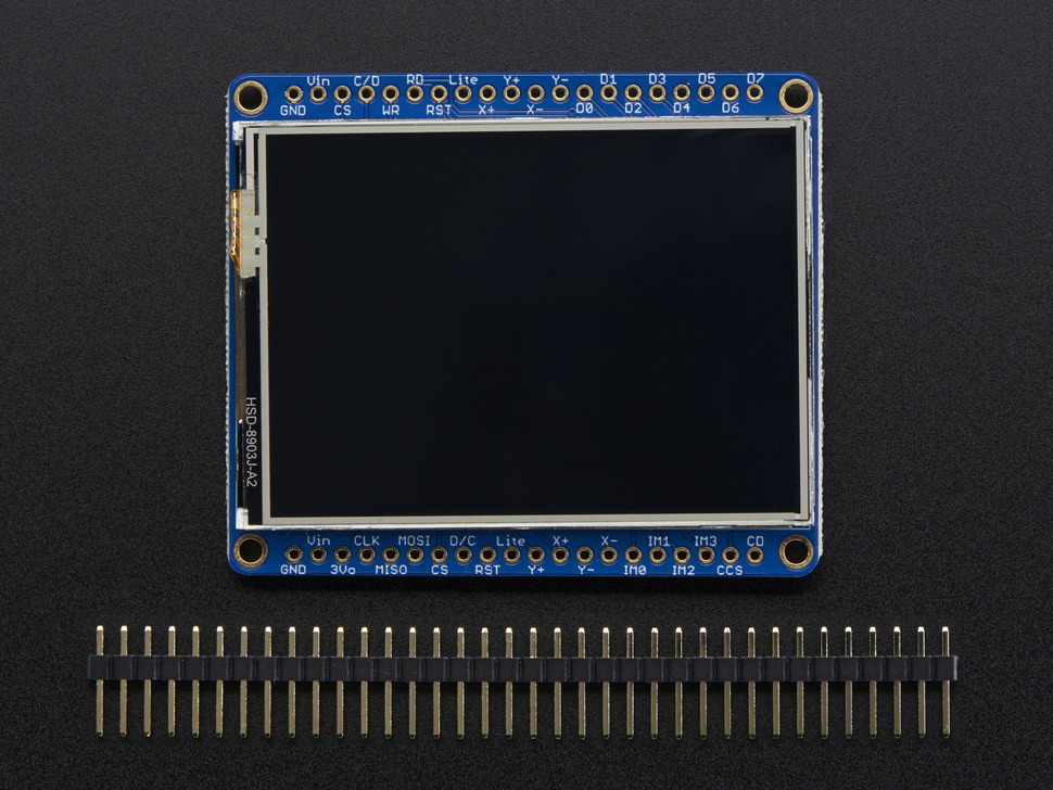 Adafruit 2.4 인치 TFT LCD- 터치 스크린 지원 , MicroSD Socket 내장형  - ILI9341 / Adafruit 2.4 inch TFT LCD with Touchscreen Breakout w, MicroSD Socket - ILI9341 [2478]