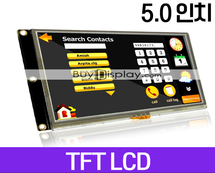 TFT 5 inch LCD Display Module w/Controller Board Serial I2C RA8875 ER-TFTM050-2