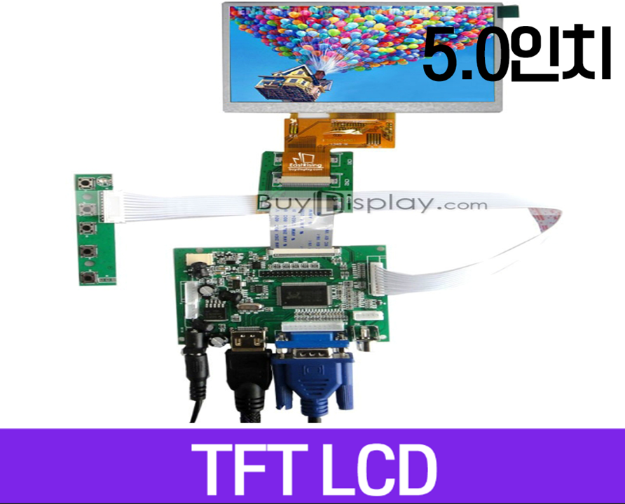 TFT LCD 모듈, 5.0인치, 해상도 480x272, Touch Screen, HDMI, VGA,Video Driver Board, ER-TFTV050-1