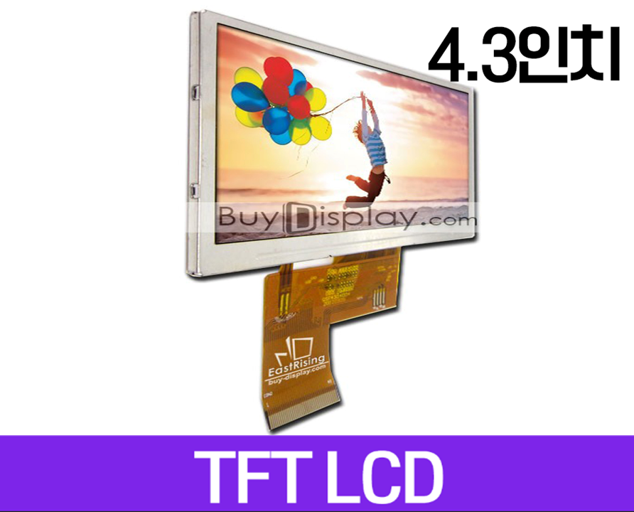 TFT LCD 모듈, 4.3인치, 해상도 480x272, OPTL Touch Screen Display for MP4,GPS, ER-TFT043-3