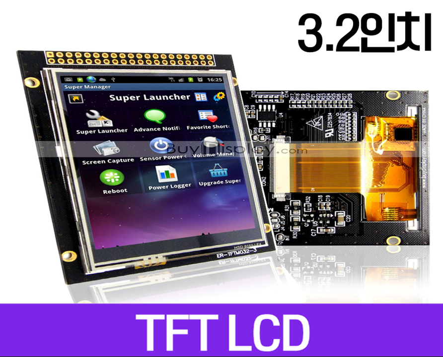 TFT LCD 모듈, 3.2인치, 해상도 240x320, Touch Screen, Arduino Library, ER-TFTM032-3