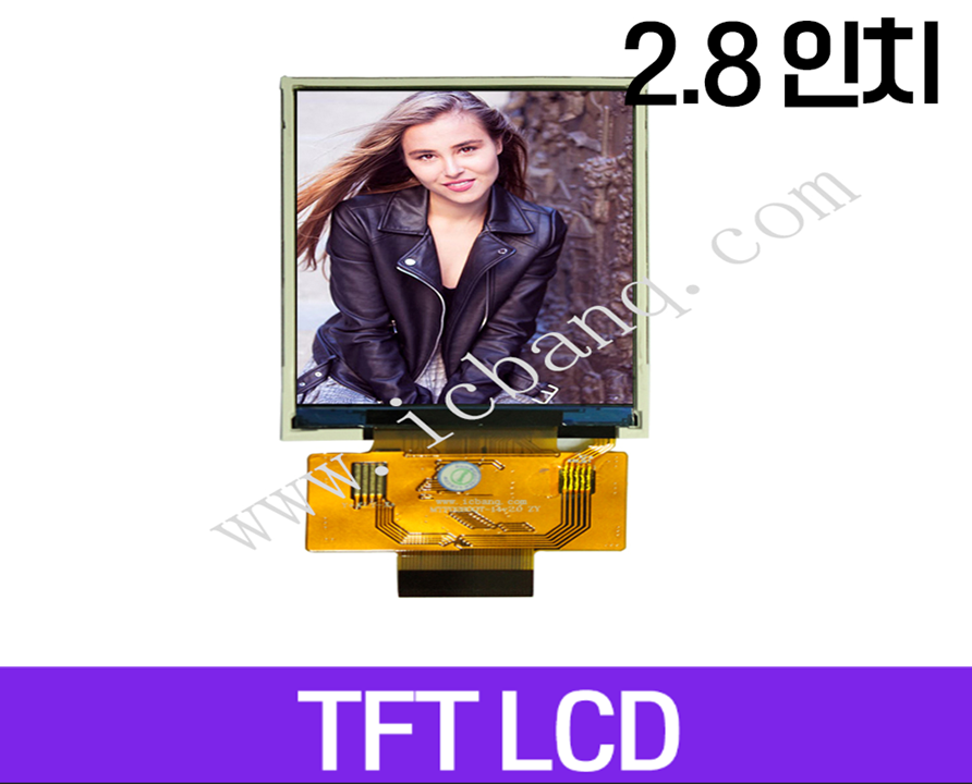 TFT LCD 모듈, 2.8인치, 해상도 240x320, 8/16 bit Parallel Interface, MTF0280QT-14