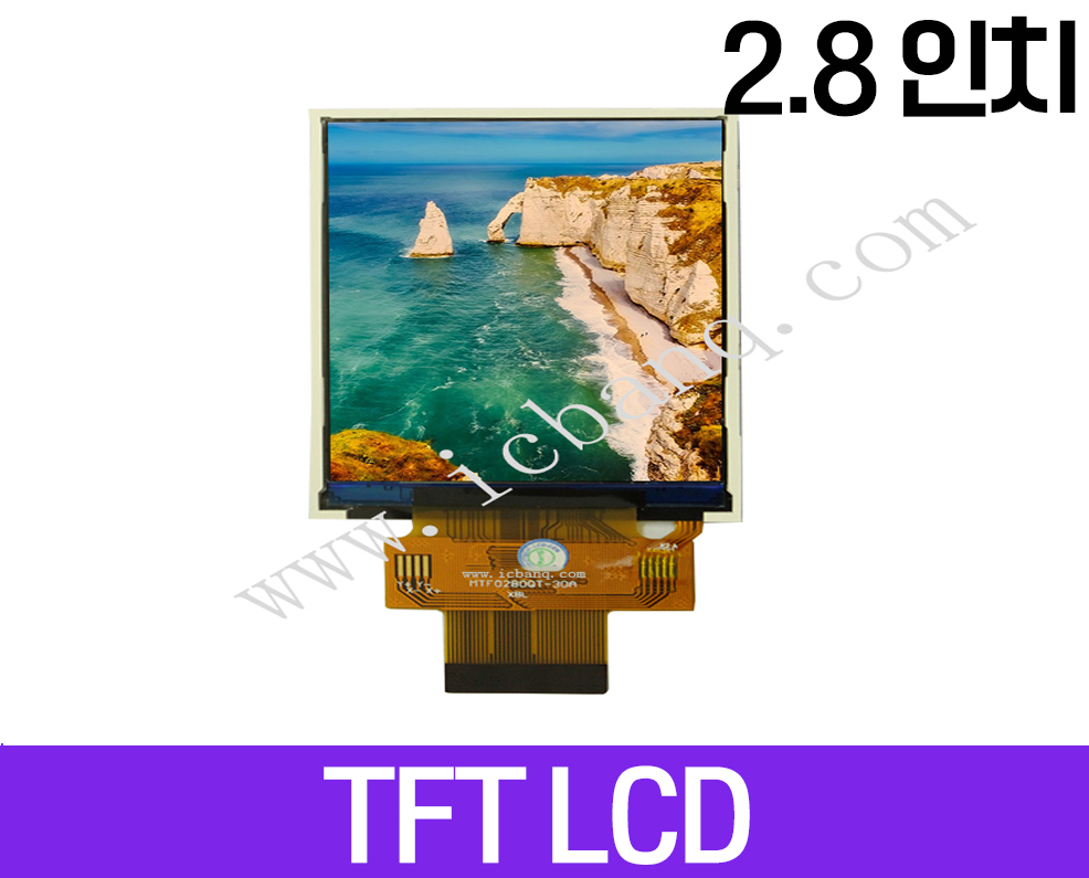 TFT LCD 모듈, 2.8인치, 해상도 240x320, 8/16 Parallel Interface, MTF0280QT-30