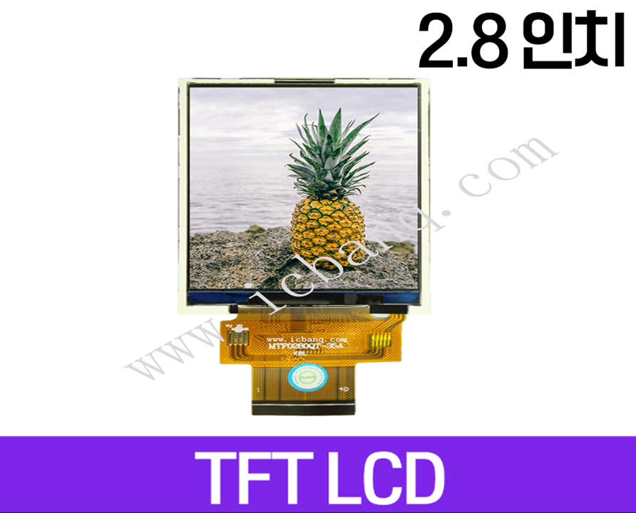TFT LCD 모듈, 2.8인치, 해상도 240x320, 8/16 Parallel Interface, MTF0280QT-35