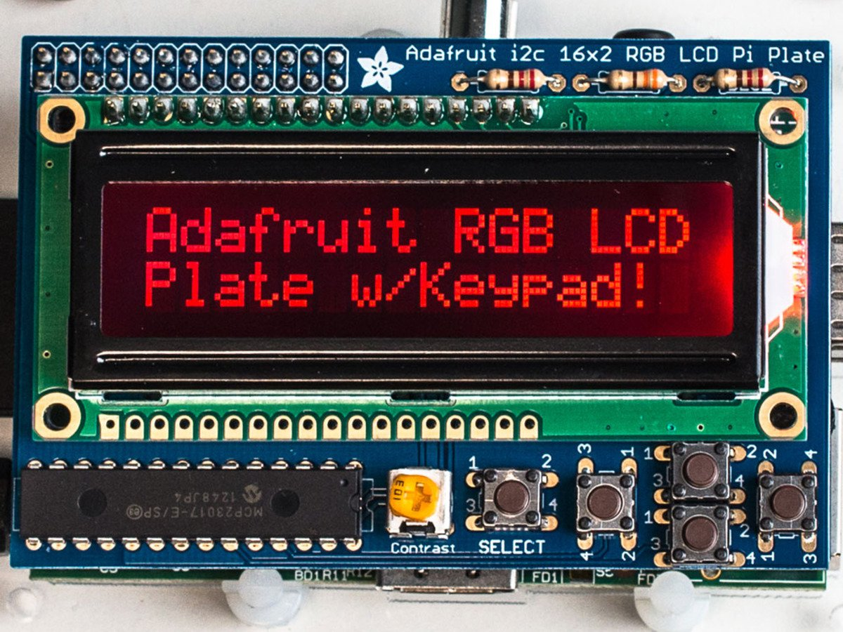 라즈베리파이용 RGB 음성 16x2 LCD+키패드 키트 / Adafruit RGB Negative 16x2 LCD+Keypad Kit for Raspberry Pi [1110]