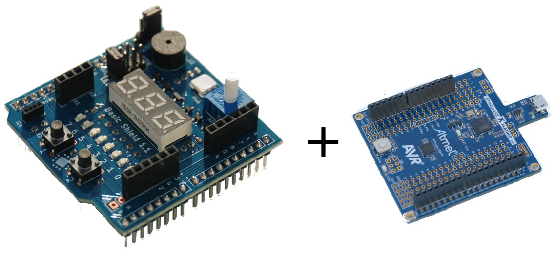 아두이노 베이직 쉴드 + ATmega168PB X-mini (Arduino Basic Shield + ATmega168PB X-mini)