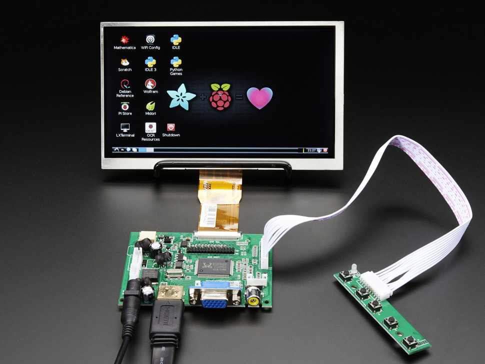 HDMI 4 파이 7 인치 디스플레이 (터치스크린 미지원) 1024x600- HDMI, VGA, NTSC, PAL/ HDMI 4 Pi 7 inch Display no Touchscreen 1024x600- HDMI, VGA, NTSC, PAL [2299]