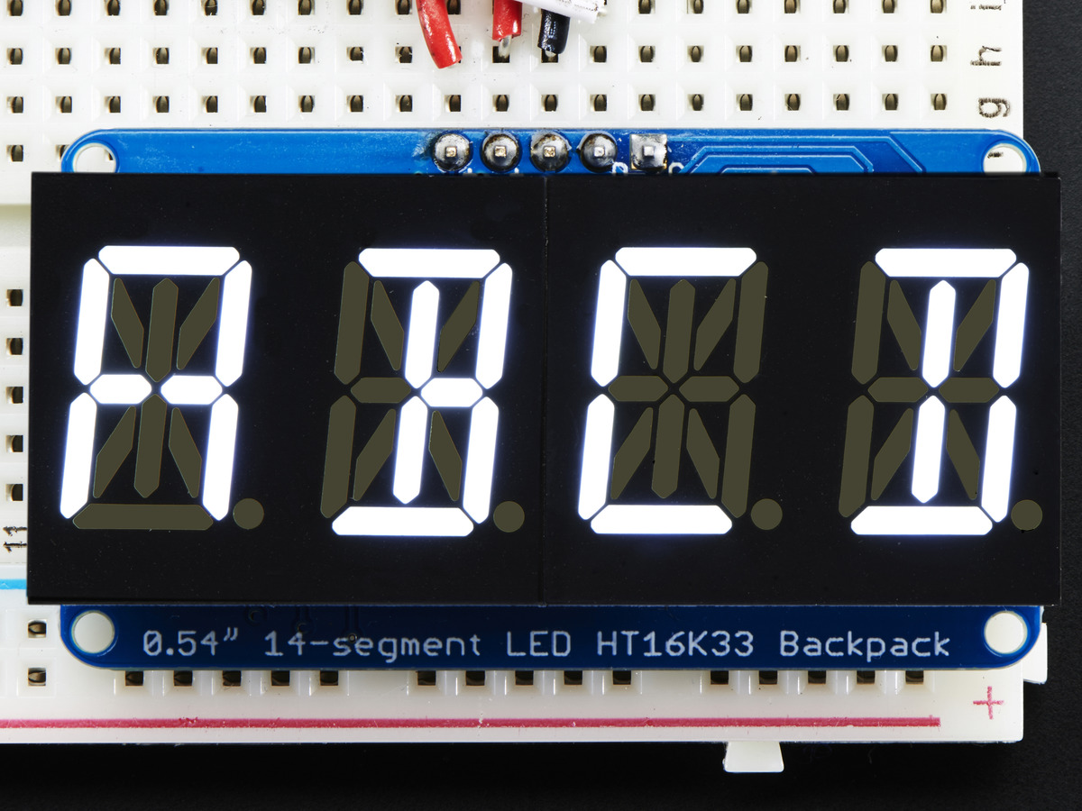Quad Alphanumeric Display - White 0.54inch Digits w/ I2C Backpack [2157]