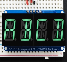Quad Alphanumeric Display - Pure Green 0.54inch Digits w/ Backpack [2160]