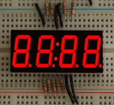 Red 7-segment clock display - 0.56inch digit height [865]